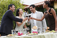Friends celebrating with food and drink in garden