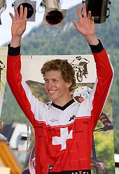 Winner Nick Beer (SUI) of Elite Men category at MTB Downhill European Championships, on June 14, 2009, at Kranjska Gora, Slovenia. (Photo by Vid Ponikvar / Sportida)