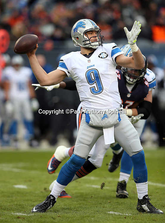 Detroit Lions quarterback Matthew Stafford (9) throws a completed deep pass into Chicago Bears territory on the Lions first offensive series in the first quarter during the NFL week 17 regular season football game against the Chicago Bears on Sunday, Jan. 3, 2016 in Chicago. The Lions won the game 24-20. (©Paul Anthony Spinelli)