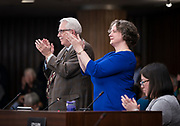 Madison Mayor Satya Rhodes-Conway applauds the swearing in of the incoming Alders at the City County Building in Madison, WI on Tuesday, April 16, 2019.