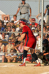 30 June 2004  Team USA's Stacey Nuveman makes a trip to  the batter's box. Bloomington Lady Hearts vs. USA Olympic Softball Team.  Champion Field #1.  Normal Illinois