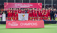 ANTWERPEN - Belgie wint de titel    na de  finale mannen  Belgie-Spanje (5-0)  bij het Europees kampioenschap hockey. Belgie kampioen.  COPYRIGHT KOEN SUYK