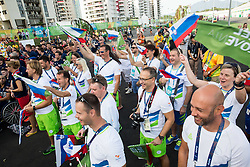 Primoz Cernilec, Sandi Novak, Dejan Fabcic, Damjan Pavlin, Ales Kosmac, Matej Kovac, Nina Mozetic of Slovenia react during the Village flag raising ceremony ahead of the Rio 2016 Summer Paralympics Games on September 4, 2016 in the Paralympic Village, Rio de Janeiro, Brazil. Photo by Vid Ponikvar / Sportida