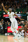 WACO, TX - JANUARY 31: Royce O'Neale #00 of the Baylor Bears celebrates after a made three-pointer against the Texas Longhorns on January 31, 2015 at the Ferrell Center in Waco, Texas.  (Photo by Cooper Neill/Getty Images) *** Local Caption *** Royce O'Neale
