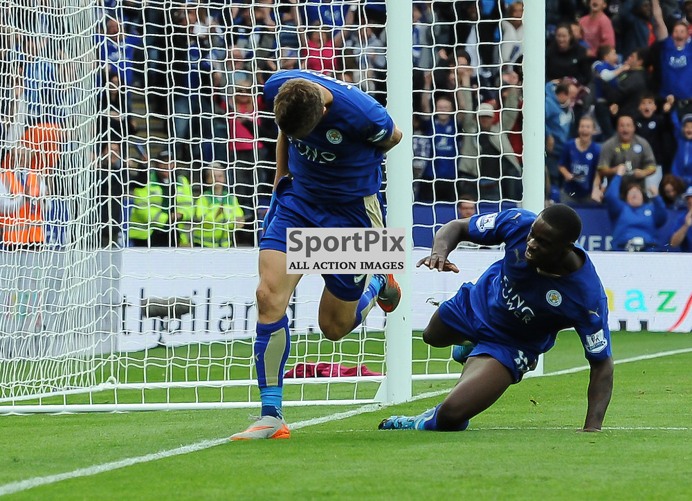 Take a bow. Jamie Vardy has just put Leicester level with Villa at 2-2 (c) Simon Kimber   SportPix.org.uk