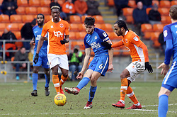 Jack Baldwin of Peterborough United plays the ball away from Nathan Delfouneso of Blackpool - Mandatory by-line: Joe Dent/JMP - 18/02/2018 - FOOTBALL - Bloomfield Road - Blackpool, England - Blackpool v Peterborough United - Sky Bet League One