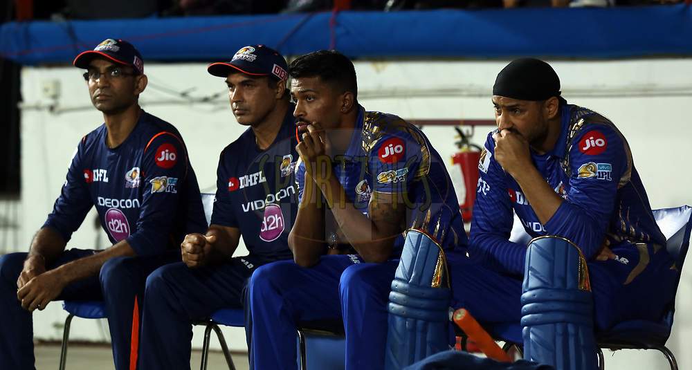 Mumbai Indians team during match 35 of the Vivo 2017 Indian Premier League between the Gujarat Lions and the Mumbai Indians  held at the Saurashtra Cricket Association Stadium in Rajkot, India on the 29th April 2017<br /> <br /> Photo by Sandeep Shetty - Sportzpics - IPL