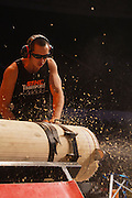 Sam Mulholland-Wong competes using the stock saw during the Stihl Timbersports Championships at The Norfolk Scope in Norfolk, Virginia on June 20, 2014.