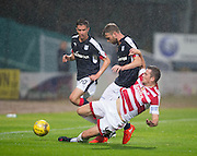 Hamilton&rsquo;s Mikey Devlin tackles Dundee&rsquo;s Rory Loy - Dundee v Hamilton Academical in the Ladbrokes Scottish Premiership at Dens Park<br /> <br />  - &copy; David Young - www.davidyoungphoto.co.uk - email: davidyoungphoto@gmail.com