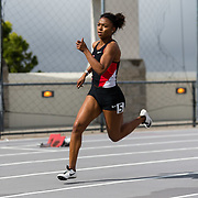 23 March 2018: Tyra Lea competes in the 400m Dash open event Friday morning at the 40th Annual Aztec Invitational.<br /> More game action at sdsuaztecphotos.com