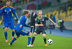 KIEV, UKRAINE - Easter Monday, March 28, 2016: Wales' Jonathan Williams in action against Ukraine during the International Friendly match at the NSK Olimpiyskyi Stadium. (Pic by David Rawcliffe/Propaganda)