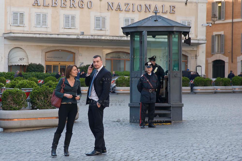 Carla Ruocco deputata del Movimento Cinque Stelle, Rocco Casalino, ufficio stampa  del Movimento Cinque Stelle, davanti a Montecitorio<br /> Carla Ruocco, deputy of the Five Star Movement, Rocco Casalino, press office of the Five Star Movement, in front of Montecitorio