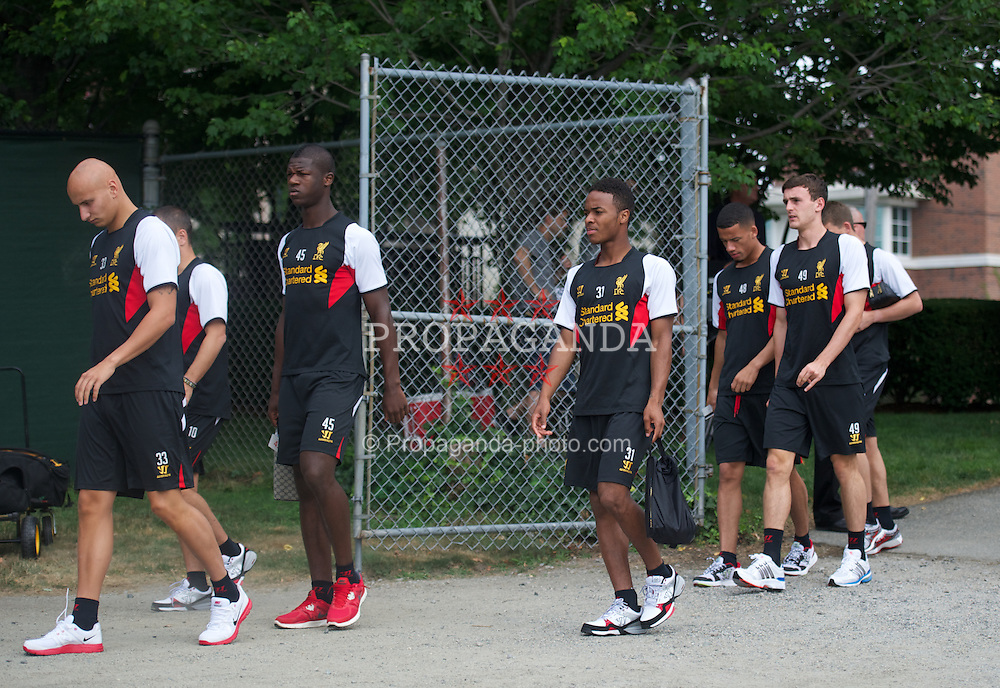 BOSTON, MA - Wednesday, July 18, 2012: Liverpool's Raheem Sterling and team-mates arrive for training at the Harvard Stadium fields during the club's North American pre-season tour. (Pic by David Rawcliffe/Propaganda)