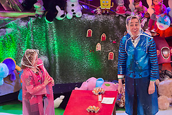 Ryan Tubridy is pictured with toy demonstrators Aoife McGowan (9) from Roscommon on the Late Late Toy Show 2014. Picture Andres Poveda