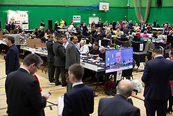 © Licensed to London News Pictures . 12/12/2019. Bury, UK. The count for seats in the constituencies of Bury North and Bury South in the 2019 UK General Election , at Castle Leisure Centre in Bury . Photo credit: Joel Goodman/LNP