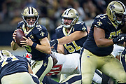 NEW ORLEANS, LA - SEPTEMBER 9:  Drew Brees #9 of the New Orleans Saints tries to avoid the rush during a game against the Tampa Bay Buccaneers at Mercedes-Benz Superdome on September 9, 2018 in New Orleans, Louisiana.  The Buccaneers defeated the Saints 48-40.  (Photo by Wesley Hitt/Getty Images) *** Local Caption *** Drew Brees