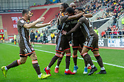 Goal Brentford celebrate as Brentford midfielder Kamohelo Mokotjo scores a goal to take the lead 0-1 during the EFL Sky Bet Championship match between Rotherham United and Brentford at the AESSEAL New York Stadium, Rotherham, England on 19 January 2019.