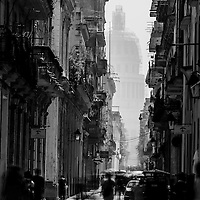 Old streets, Havana, Cuba. A city with a feeling of history, a place time has slowed. I love the movement of the people within the context of the street scene and the looming city hall in the background.