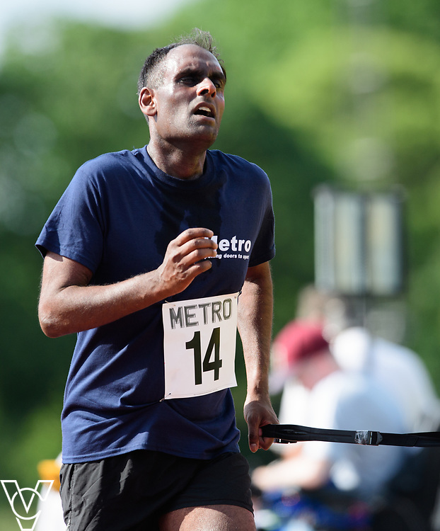 Metro Blind Sport's 2017 Athletics Open held at Mile End Stadium.  5000m.  Competitor #14<br /> <br /> Picture: Chris Vaughan Photography for Metro Blind Sport<br /> Date: June 17, 2017