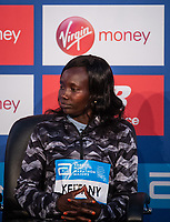 Mary Keitany KEN at a press conference at the Guoman Tower Hotel for the winners of The Abbott World Marathon Majors Series XI, 23 April 2018.<br /> <br /> Photo: Thomas Lovelock for Virgin Money London Marathon<br /> <br /> For further information: media@londonmarathonevents.co.uk