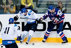 Janne Pesonen of Finland vs Milan Jurcina of Slovakia during ice-hockey match between Finland and Slovakia of Group E in Qualifying Round of IIHF 2011 World Championship Slovakia, on May 7, 2011 in Orange Arena, Bratislava, Slovakia. (Photo by Matic Klansek Velej / Sportida)