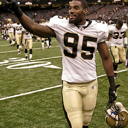 August 21, 2010; New Orleans, LA, USA; New Orleans Saints linebacker Harry Coleman (95) walks off the field following a 38-20 win by the New Orleans Saints over the Houston Texans during a preseason game at the Louisiana Superdome. Mandatory Credit: Derick E. Hingle