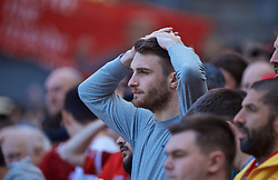 LIVERPOOL, ENGLAND - Sunday, May 12, 2019: Liverpool's supporter reacts nervously during the final FA Premier League match of the season between Liverpool FC and Wolverhampton Wanderers FC at Anfield. (Pic by David Rawcliffe/Propaganda)