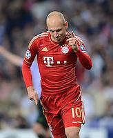 FUSSBALL   CHAMPIONS LEAGUE SAISON 2011/2012  HALBFINALE  RUECKSPIEL      Real Madrid - FC Bayern Muenchen           25.04.2012 Arjen Robben (FC Bayern Muenchen) bejubelt seinen Treffer zum 1:2