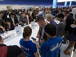 Crowds of visitors to Samsung hall to see new Galaxy Note II smartphone whch was released today  31 August 2012 the opening day of the annual IFA (or Internationale Funkausstellung ) consumer electronics and electrical products show held in Berlin Messe Trade Show Halls Germany