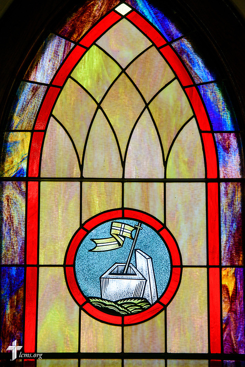 Stained glass depicting victory over death in the resurrection of Jesus Christ, at Zion Evangelical Lutheran Church, Lu Verne, Iowa, on Sunday, July 9, 2017. LCMS Communications/Erik M. Lunsford
