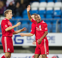 MOLDE, NORWAY - Wednesday, September 7, 2011: Liverpool's Raheem Sterling celebrates scoring the fourth goal against Molde during the second NextGen Series Group 2 match at Aker Stadion. (Photo by Vegard Grott/Propaganda).