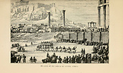 fete of the Temple of Jupiter, Athens engraving on wood From The human race by Figuier, Louis, (1819-1894) Publication in 1872 Publisher: New York, Appleton