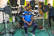 Forest Green Rovers Manny Monthe(6) has his face scanned for FIFA18 during the Forest Green Rovers Photocall at the New Lawn, Forest Green, United Kingdom on 31 July 2017. Photo by Shane Healey.