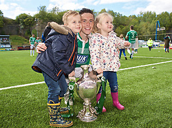 RHOSYMEDRE, WALES - Sunday, May 5, 2019: The New Saints' Danny Redmond with his family and the trophy after the FAW JD Welsh Cup Final between Connah's Quay Nomads FC and The New Saints FC at The Rock. The New Saints won 3-0. (Pic by David Rawcliffe/Propaganda)