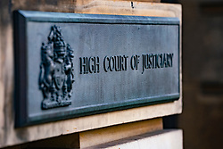 Sign outside High Court of Justiciary in Edinburgh, Scotland, UK