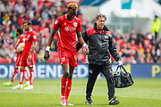 Tammy Abraham of Bristol City has treatment during the EFL Sky Bet Championship match between Bristol City and Birmingham City at Ashton Gate, Bristol, England on 7 May 2017. Photo by Andrew Lewis.