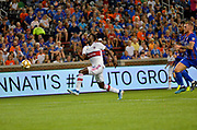 C.J. Sapong (9) of the Chicago Fire chases down the ball during a MLS soccer game, Saturday, September 21, 2019, in Cincinnati, OH. Chicago tied Cincinnati 0-0. (Jason Whitman/Image of Sport)
