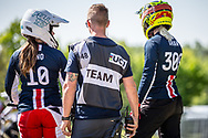 #10 (RENO Shealen) USA and#309 (SHAW Mikalyn) USA during practice of Round 3 at the 2018 UCI BMX Superscross World Cup in Papendal, The Netherlands