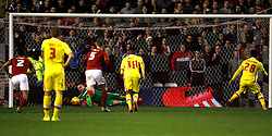 Dorus de Vries of Nottingham Forest saves a penalty from Nicky Maynard of Milton Keynes Dons (R) - Mandatory byline: Jack Phillips / JMP - 07966386802 - 19/12/2015 - FOOTBALL - The City Ground - Nottingham, Nottinghamshire - Nottingham Forest v MK Dons - Sky Bet Championship