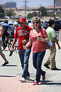 ANAHEIM, CA - JUNE 16:  A father and his daughter enter the stadium before the Los Angeles Angels of Anaheim game against the New York Yankees on Sunday, June 16, 2013 at Angel Stadium in Anaheim, California. The Yankees won the game 6-5. (Photo by Paul Spinelli/MLB Photos via Getty Images)