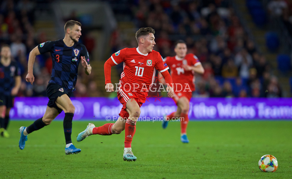 CARDIFF, WALES - Sunday, October 13, 2019: Wales' Harry Wilson during the UEFA Euro 2020 Qualifying Group E match between Wales and Croatia at the Cardiff City Stadium. (Pic by Laura Malkin/Propaganda)