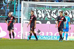 15.10.2011,  BorussiaPark, Mönchengladbach, GER, 1.FBL, Borussia Mönchengladbach vs Bayer 04 Leverkusen, im Bild.Leverkusener entaeuscht / entäuscht / traurig. von links:  Hanno Balitsch (Leverkusen #14), Stefan Reinartz (Leverkusen #3), Daniel Schwaab (Leverkusen #2) und Bernd Leno (Torwart Leverkusen/Leihe aus Stuttgart)..// during the 1.FBL, Borussia Mönchengladbach vs Bayer 04 Leverkusen on 2011/10/13, BorussiaPark, Mönchengladbach, Germany. EXPA Pictures © 2011, PhotoCredit: EXPA/ nph/  Mueller *** Local Caption ***       ****** out of GER / CRO  / BEL ******