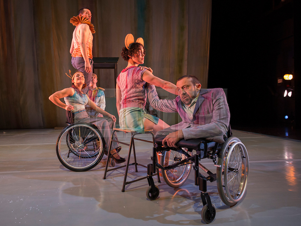 "© Licensed to London News Pictures. 13/05/2014. London, UK. Pictured: Amy Butler and David Toole at the front. Sadler's Wells present the series ""=dance"", dance productions by disabled and non-disabled performers. Stopgap Dance Company perform ""Artificial Things"". Artificial Things is the debut production by Stopgap's Artistic Director Lucy Bennett, who is one of UK's leading experts in integrated choreography. Performers: David Toole, Chris Pavia, Laura Jones, Amy  Butler and David Willdridge. Photo credit: Bettina Strenske/LNP"