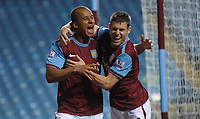 Aston Villa's Gabriel Agbonlahor celebrates opening the scoring in the first few minutes<br /> Aston Villa vs Cardiff City<br /> Carling Cup 3rd Round, Villa Park, Birmingham, UK<br /> 23/09/2009. Credit Colorsport/Dan Rowley<br /> Football