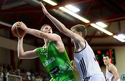 Gezim Morina of Slovenia vs Ojars Silins of Latvia during basketball match between National teams of Latvia and Slovenia in Qualifying Round of U20 Men European Championship Slovenia 2012, on July 16, 2012 in Domzale, Slovenia. Slovenia defeated Latvia 69-62. (Photo by Vid Ponikvar / Sportida.com)