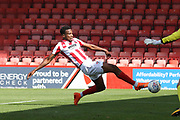 Manny Duku misses a chance during the EFL Sky Bet League 2 match between Cheltenham Town and Crawley Town at LCI Rail Stadium, Cheltenham, England on 4 August 2018. Picture by Antony Thompson.
