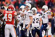 KANSAS CITY, MO - DECEMBER 14:   Philip Rivers #17 of the San Diego Chargers trash talks with the Kansas City Chiefs on December 14, 2008 in Kansas City, Missouri.  The Chargers defeated the Chiefs 22-21.  (Photo by Wesley Hitt/Getty Images) *** Local Caption *** Philip Rivers
