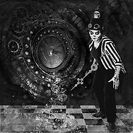 Black and white photo collage of a main with face painting holding a clock finger with a clock with a shattered glass face in the background