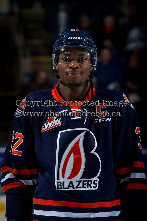 KELOWNA, BC - FEBRUARY 23: Jermaine Loewen #32 of the Kamloops Blazers lines up against the Kelowna Rockets at Prospera Place on February 23, 2019 in Kelowna, Canada. (Photo by Marissa Baecker/Getty Images)