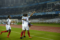 October 25, 2017 - Kolkata, West Bengal, India - England players celebrate their first goal during the FIFA U 17 World Cup India 2017 Semi Final match in Kolkata. Players of England and Brazil in action during the FIFA U 17 World Cup India 2017 Semi Final match on October 25, 2017 in Kolkata. (Credit Image: © Saikat Paul/Pacific Press via ZUMA Wire)